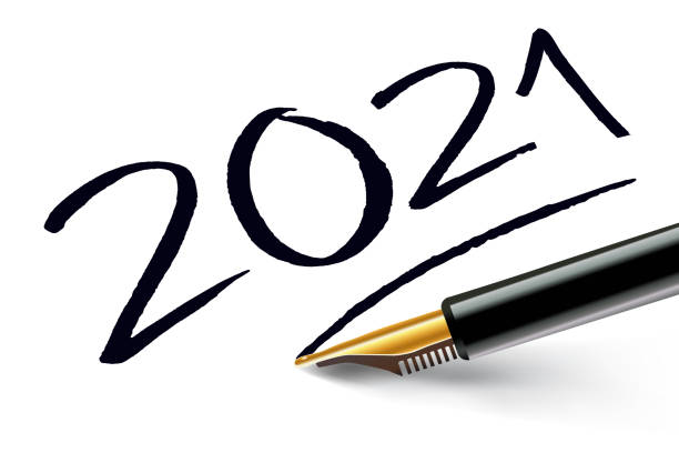 the year 2021 written in pen as a signature vector art illustration