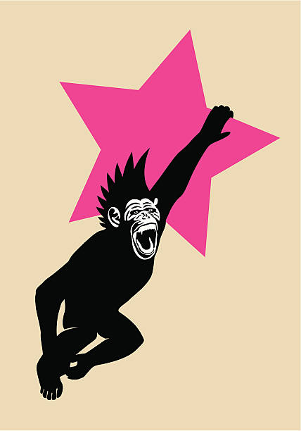 stockillustraties, clipart, cartoons en iconen met the year of the monkey chimp hanging from red star - punker