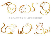 The year of the rat zodiac symbol set isolated on a white background, vector illustration.