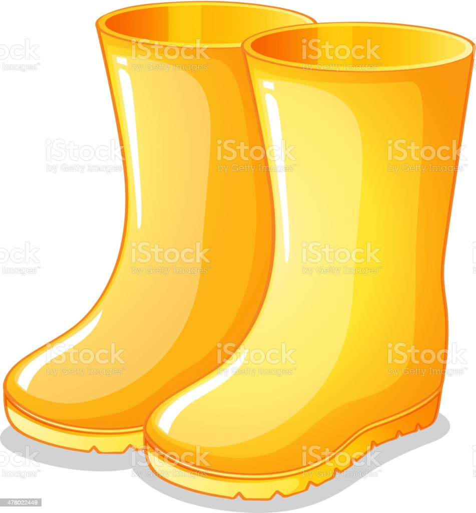 The yellow rubber boots vector art illustration