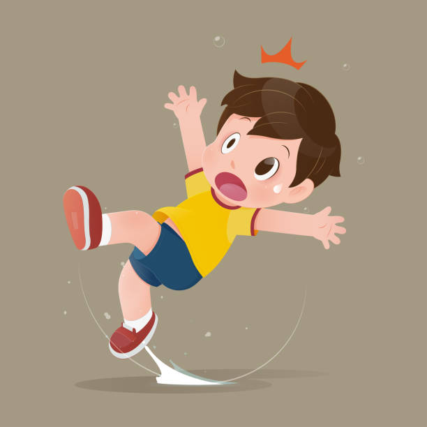 The yellow shirt cartoon boy feel shock because slipping in a puddle on the floor. The yellow shirt cartoon boy feel shock because slipping in a puddle on the floor. illustration of child have accident slippery on the wet floor. Concept with vector design careless stock illustrations