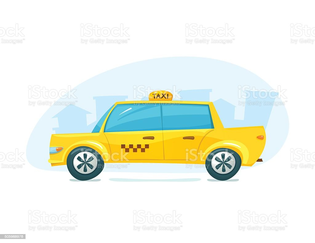 The yellow taxi, vector illustration vector art illustration
