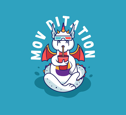 The yoga dragon is watching a movie, drinking. Rainbow unicorn-monster