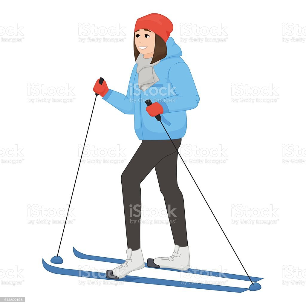 The young animation girl skis. Winter sport. Vector illustration vector art illustration