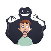 The young man and the shadow monster behind him. Vector illustration on the theme of insomnia, nightmares, fears. Isolated on white.