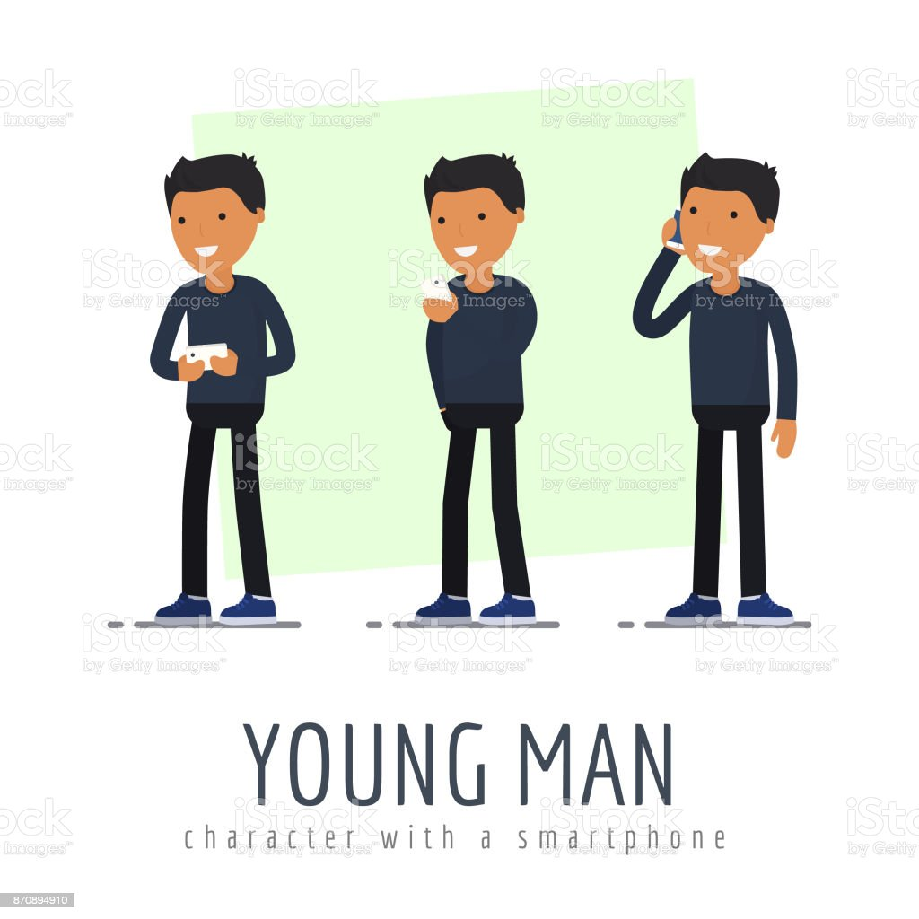 The young man character with a smartphone. flat design vector art illustration