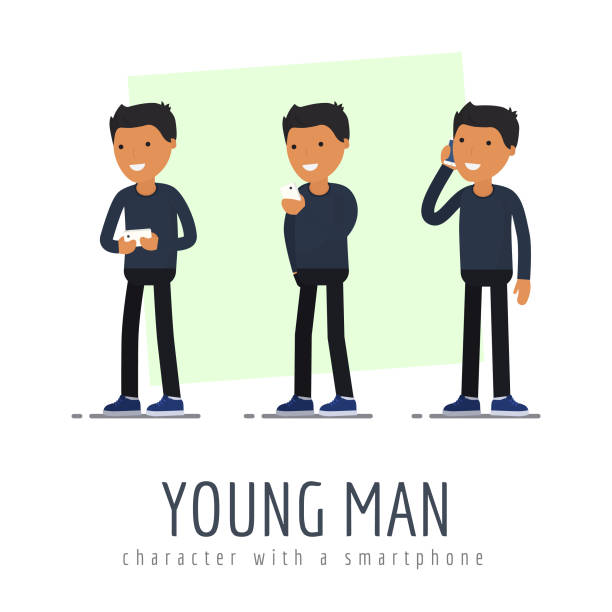 the young man character with a smartphone. flat design - business casual fashion stock illustrations