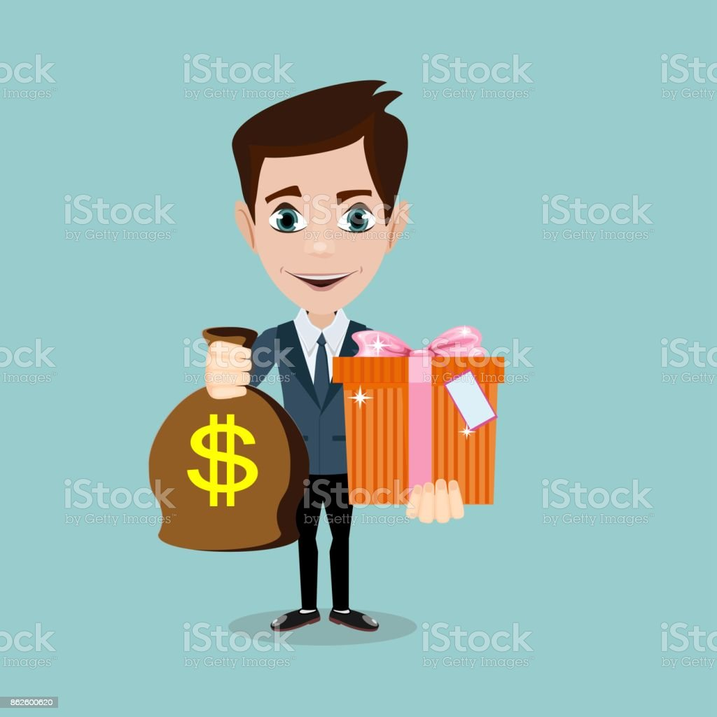 The young man hold a bag with dollars and gift vector art illustration