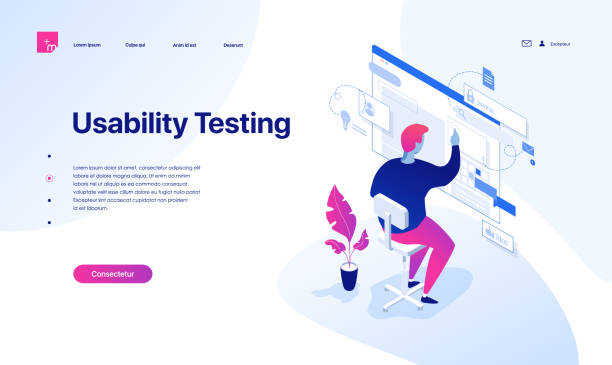 The young man is testing the interface. Landing page concept. The young man is testing the interface and usability of the website and applications. Isometric vector illustration. Landing page concept. scientific experiment stock illustrations