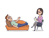The young man on reception at psychologist or psychotherapist. A man lies on a couch and talks about problems. The doctor sits on the chair and makes notes. Vector illustration, isolated.