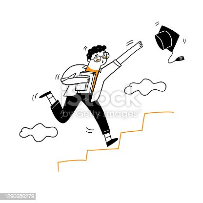 istock The young man running up to the stair 1290656279