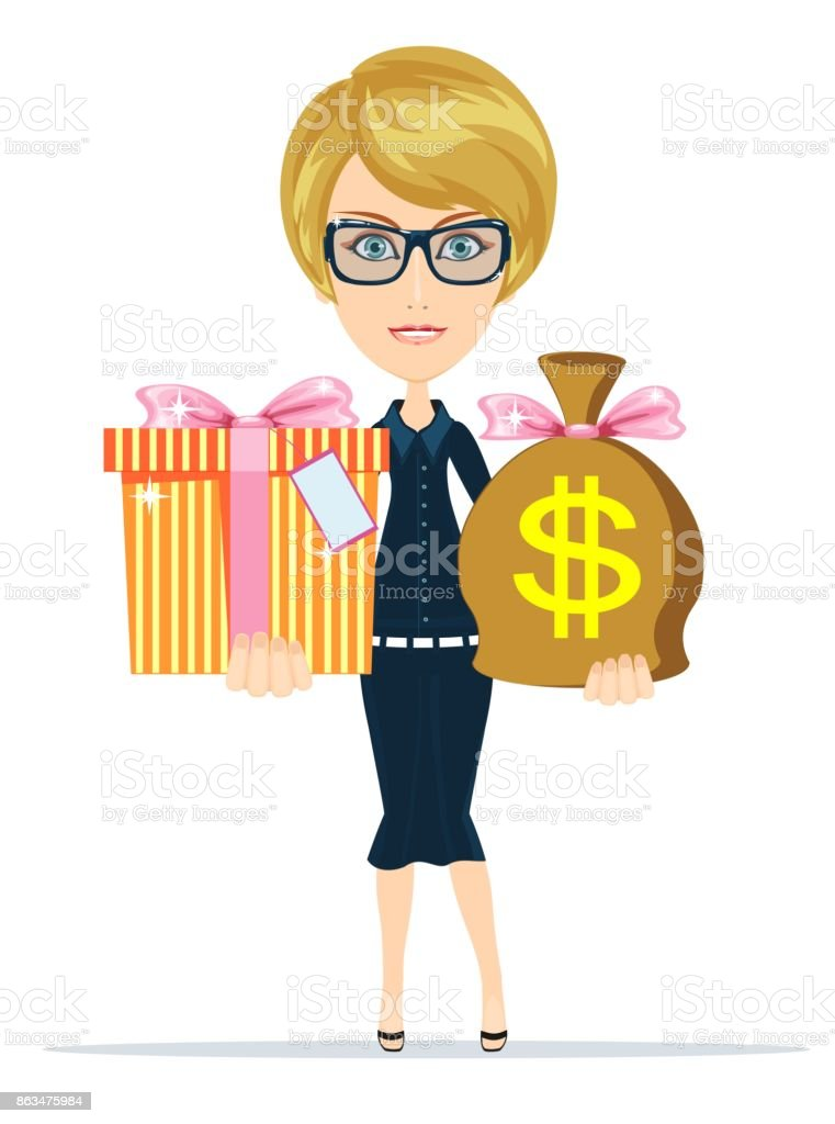 The young woman gives a bag with dollars and present vector art illustration