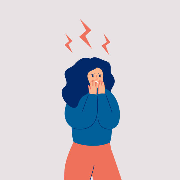 The young woman is in stress. The young woman is in stress. Woman in shock, and lightning over her. Vector flat illustration shock stock illustrations