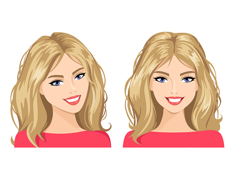The young woman's face in two views. Vector illustration
