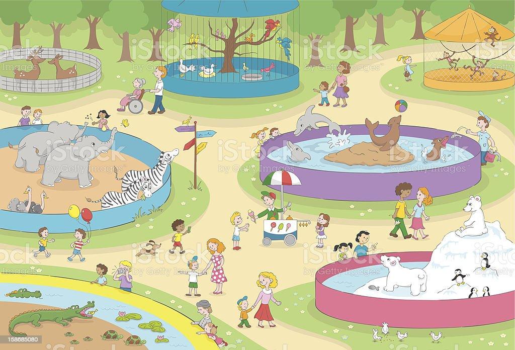 The Zoo kids scene vector art illustration