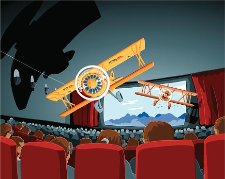 Theater 3d Movie Biplanes Stockvectorkunst en meer beelden van 3D-bril