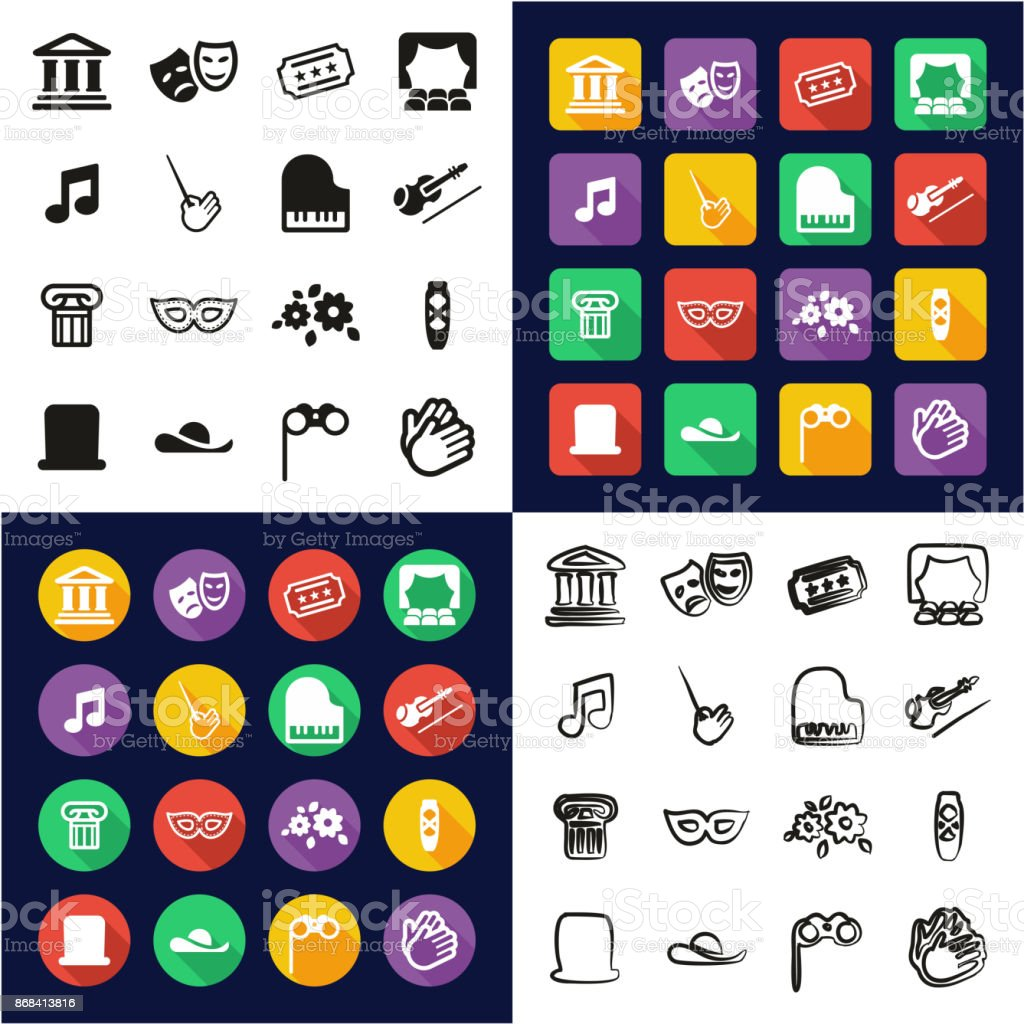 Theater All in One Icons Black & White Color Flat Design Freehand Set vector art illustration
