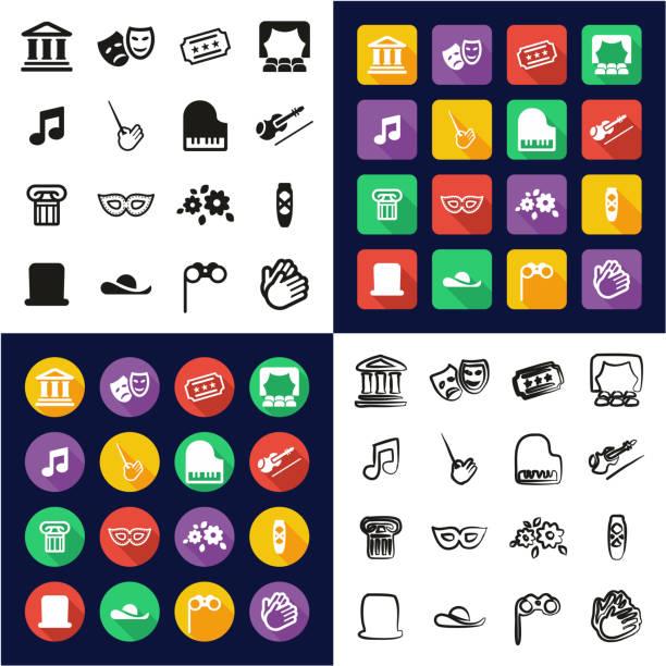 theater, die alle in einem icons schwarz & weiß flach farbe design freihand-set - bandleader stock-grafiken, -clipart, -cartoons und -symbole