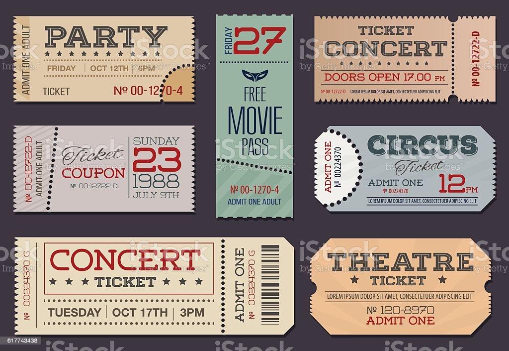 Theater and cinema Tickets & Coupons. - ilustración de arte vectorial