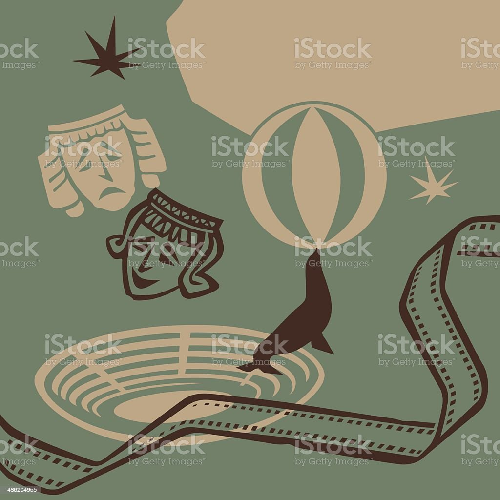 Theater and circus vector art illustration