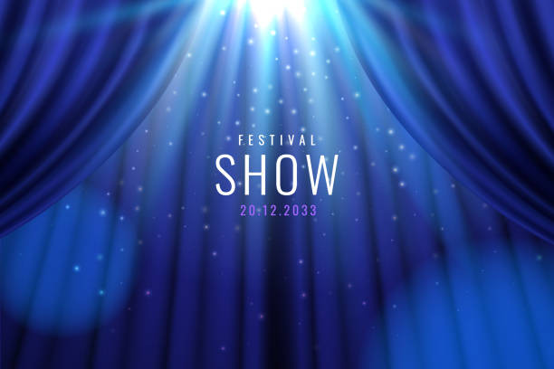 Theater blue curtain with lights as show banner Theater blue curtain with lights as show, presentation banner. Sign for casino or bar, movie or cinema premier, entertainment concert or circus advertisement placard, nightclub celebration cover awards ceremony stock illustrations