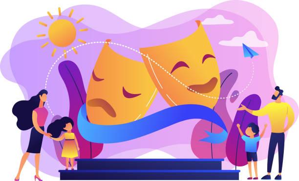 stockillustraties, clipart, cartoons en iconen met theater camp concept vector illustratie. - acteur