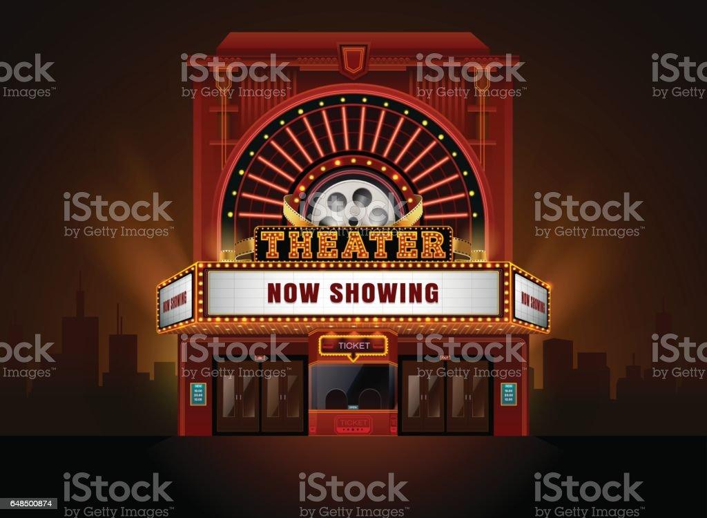 theater cinema building vector art illustration