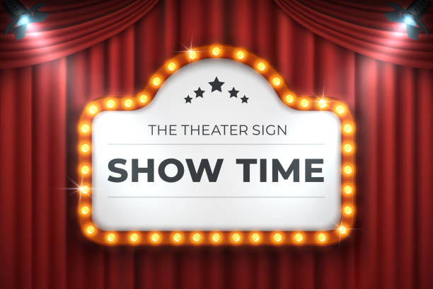 Theater cinema sign. Movie light frame, retro marquee banner on red background. Vector light bulb realistic billboard Theater cinema sign. Movie light frame, retro marquee banner on red background. Vector light bulb realistic 3D billboard premiere event stock illustrations