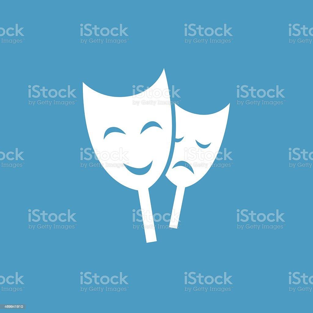 theater-Symbol, weiß auf Blau Hintergrund – Vektorgrafik