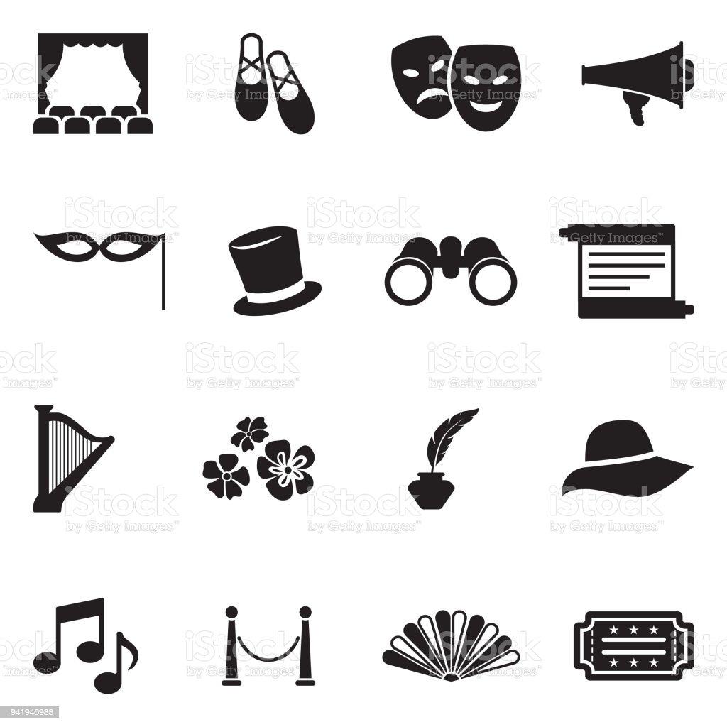Theater Icons. Black Flat Design. Vector Illustration. vector art illustration