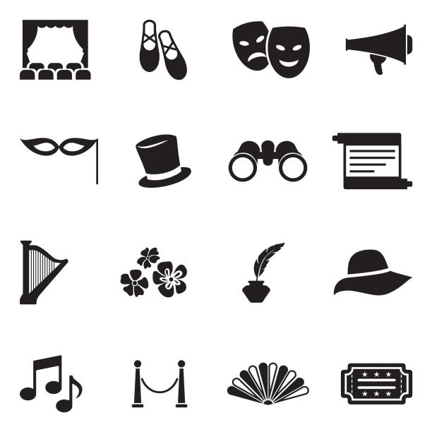 theater icons. black flat design. vector illustration. - music and entertainment icons stock illustrations