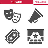 Professional, pixel aligned icons depicting various theater concepts.