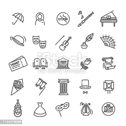 Theater- modern color vector single line design icons set