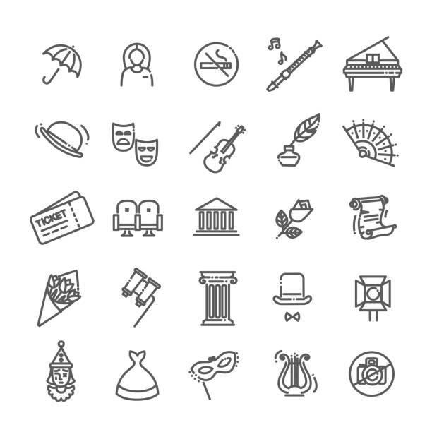 Theater lineare Ikonen. Theatersammlung von isolierten Symbolen-Vector – Vektorgrafik