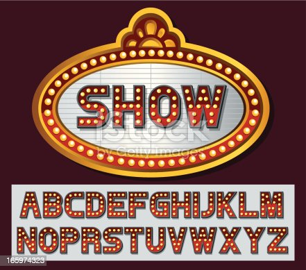 Theatre Marquee with font set created by myself. EPS 10 with transparency effect. Zip contains AI and hi-res jpeg.