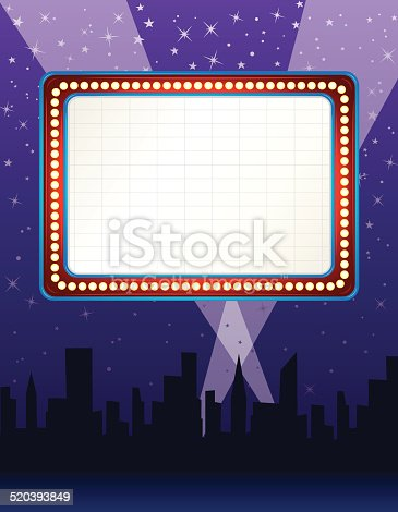 istock Theater Marquee over City Background 520393849