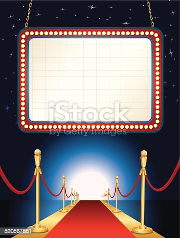 Theater Marquee Red Carpet Background Stock Vector Art