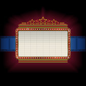 Theater marquee with film strip border. All elements are separate objects, grouped and layered. File is made with gradient. No gradient mesh used.  Global color used. 300dpi jpeg included. Please take a look at other works of mine linked below.