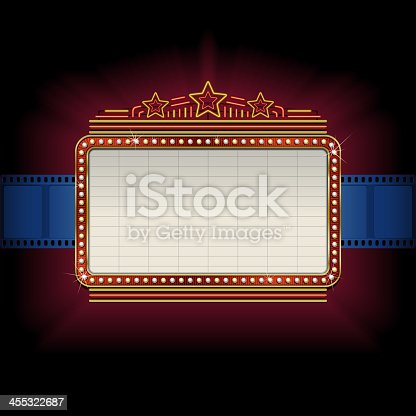 istock Theater marquee with film strip border 455322687