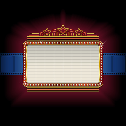 Theater marquee with film strip border