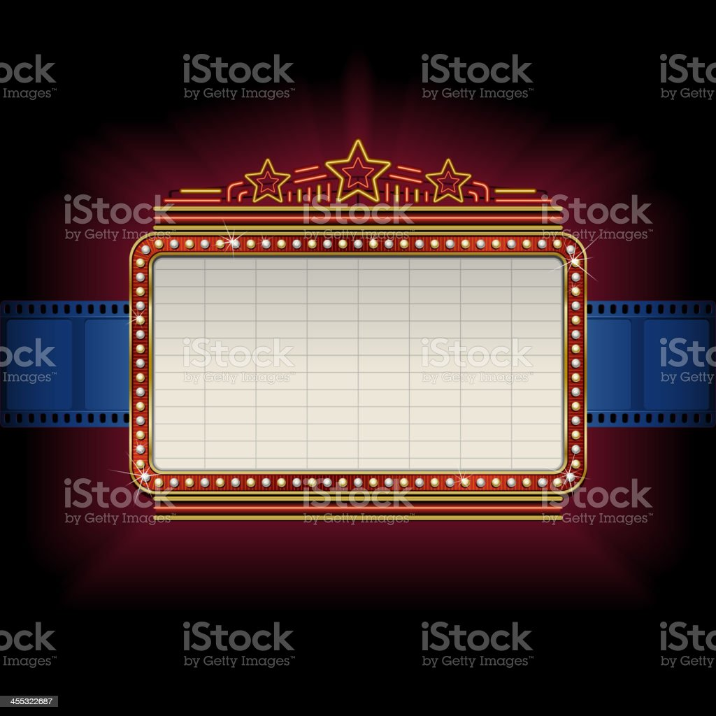 Theater marquee with film strip border vector art illustration