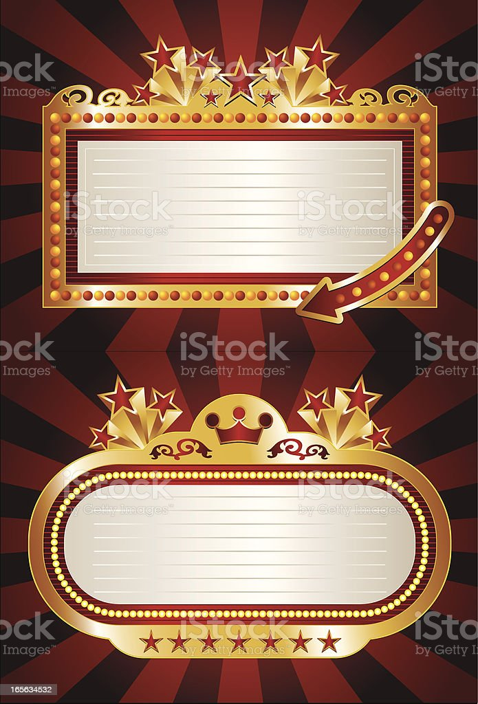 Theater Marquees with Stars vector art illustration