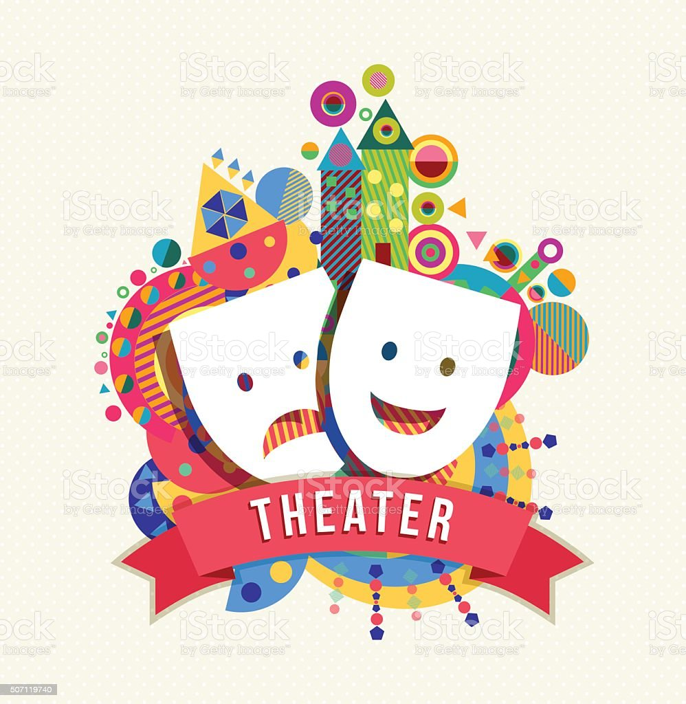 Theater mask icon, concept label with color shapes vector art illustration