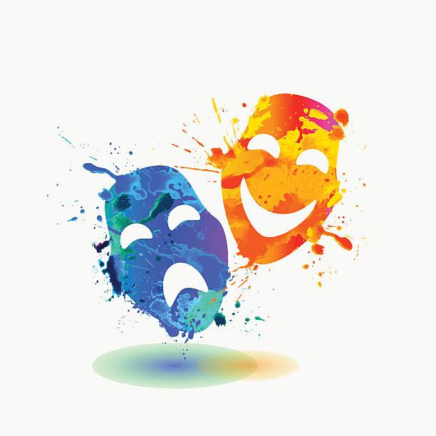 stockillustraties, clipart, cartoons en iconen met theater mask. sad and laughing emotions - acteur