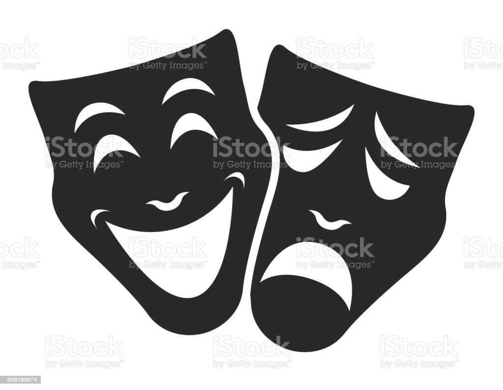 theater mask symbols vector set, sad and happy concept royalty-free theater mask symbols vector set sad and happy concept stock illustration - download image now
