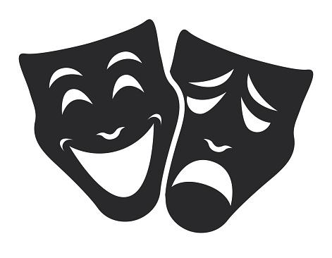 theater mask symbols vector set, sad and happy concept
