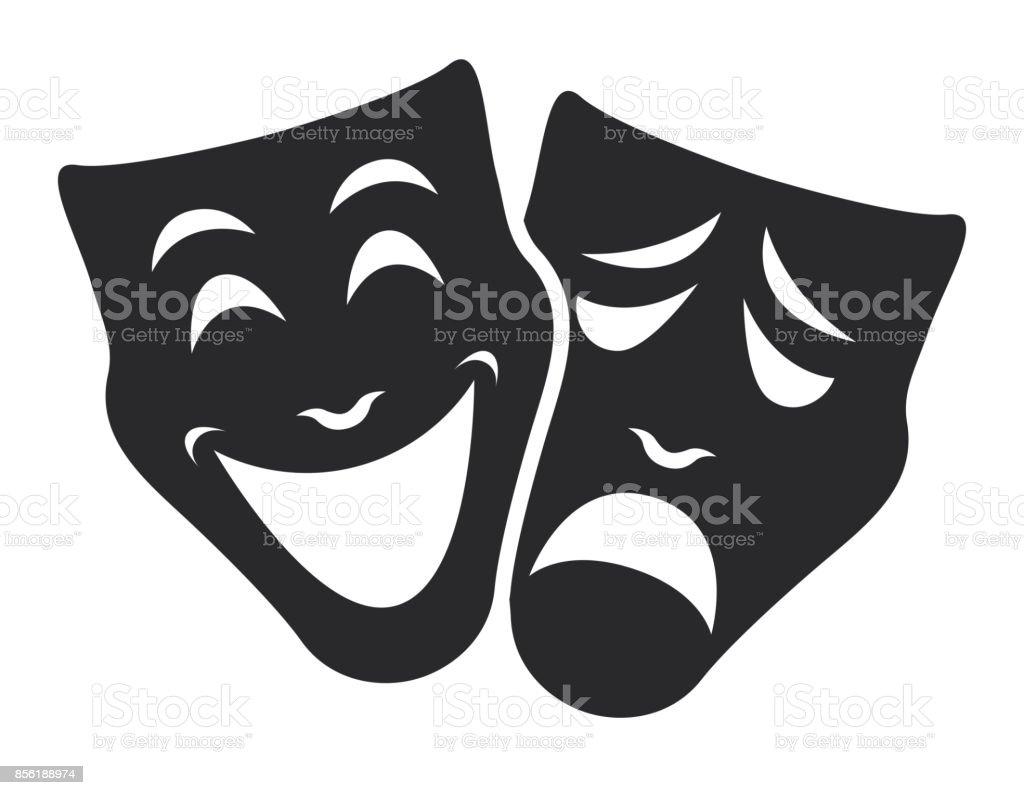 theater mask symbols vector set, sad and happy concept vector art illustration