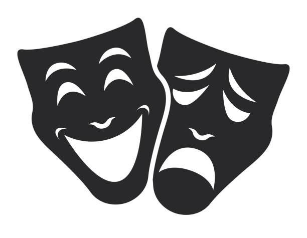 theater mask symbols vector set, sad and happy concept theater emotion mask symbols vector set, sad and happy concept performing arts event stock illustrations