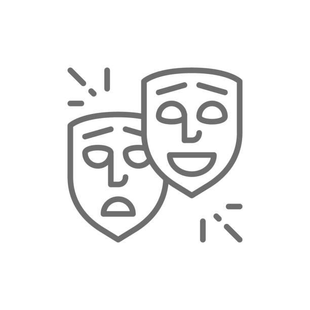 stockillustraties, clipart, cartoons en iconen met theater maskers, komedie en tragedie gezichten, glimlach en triest lijn pictogram. - acteur