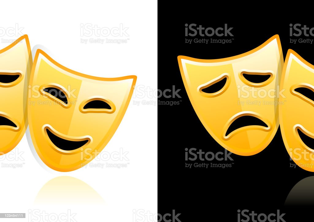Theater Masks design on black and white Backgrounds royalty-free theater masks design on black and white backgrounds stock vector art & more images of activity